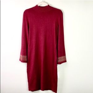 NWT Red Calvin Klein Sweater Dress w/ Gold Details